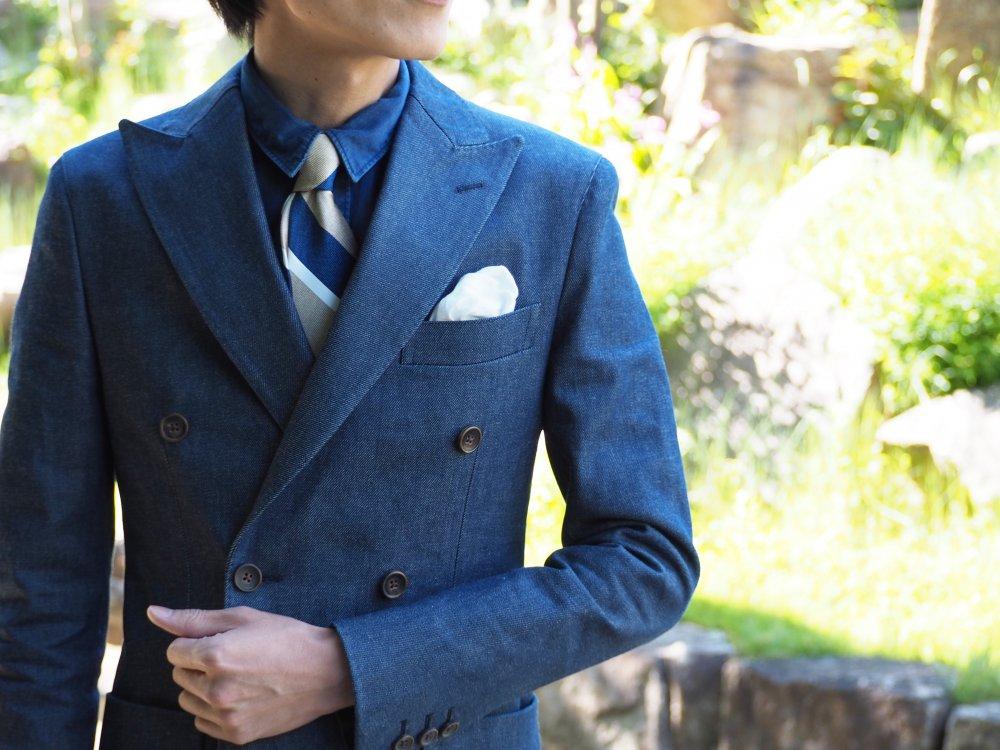 Q. 打合いダブル仕立てのデニムスーツ上下でどの位の金額で仕上がりますか?